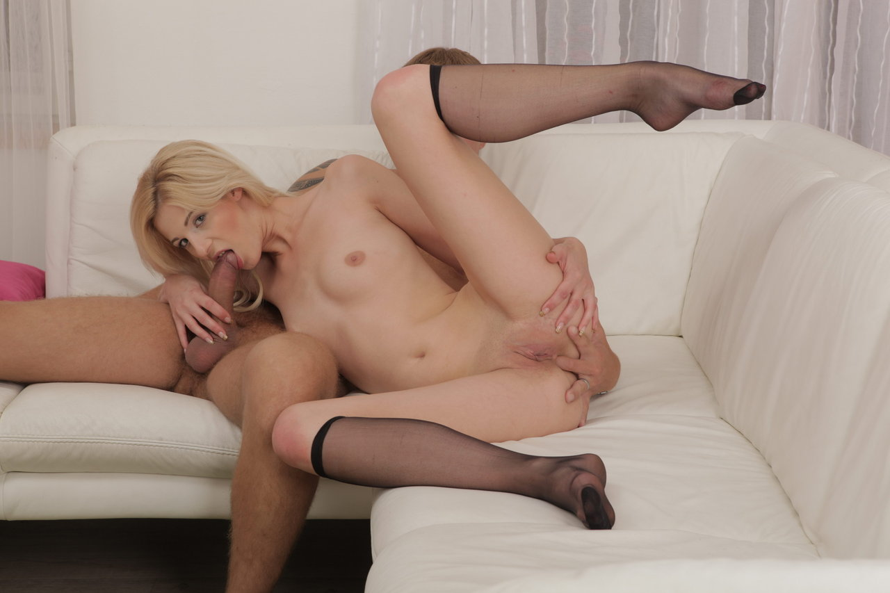 Lovely blonde Mia Hilton deep throats..